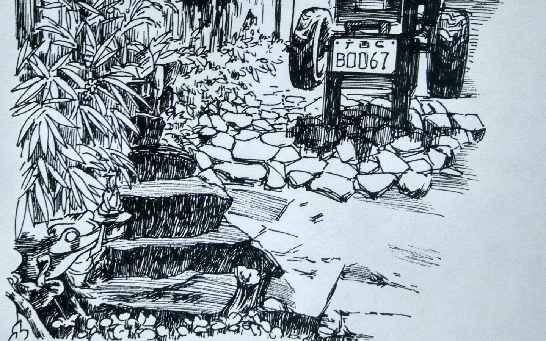 风景速写 停电热死画个乡下小镇避避暑  来自露华长安 微博