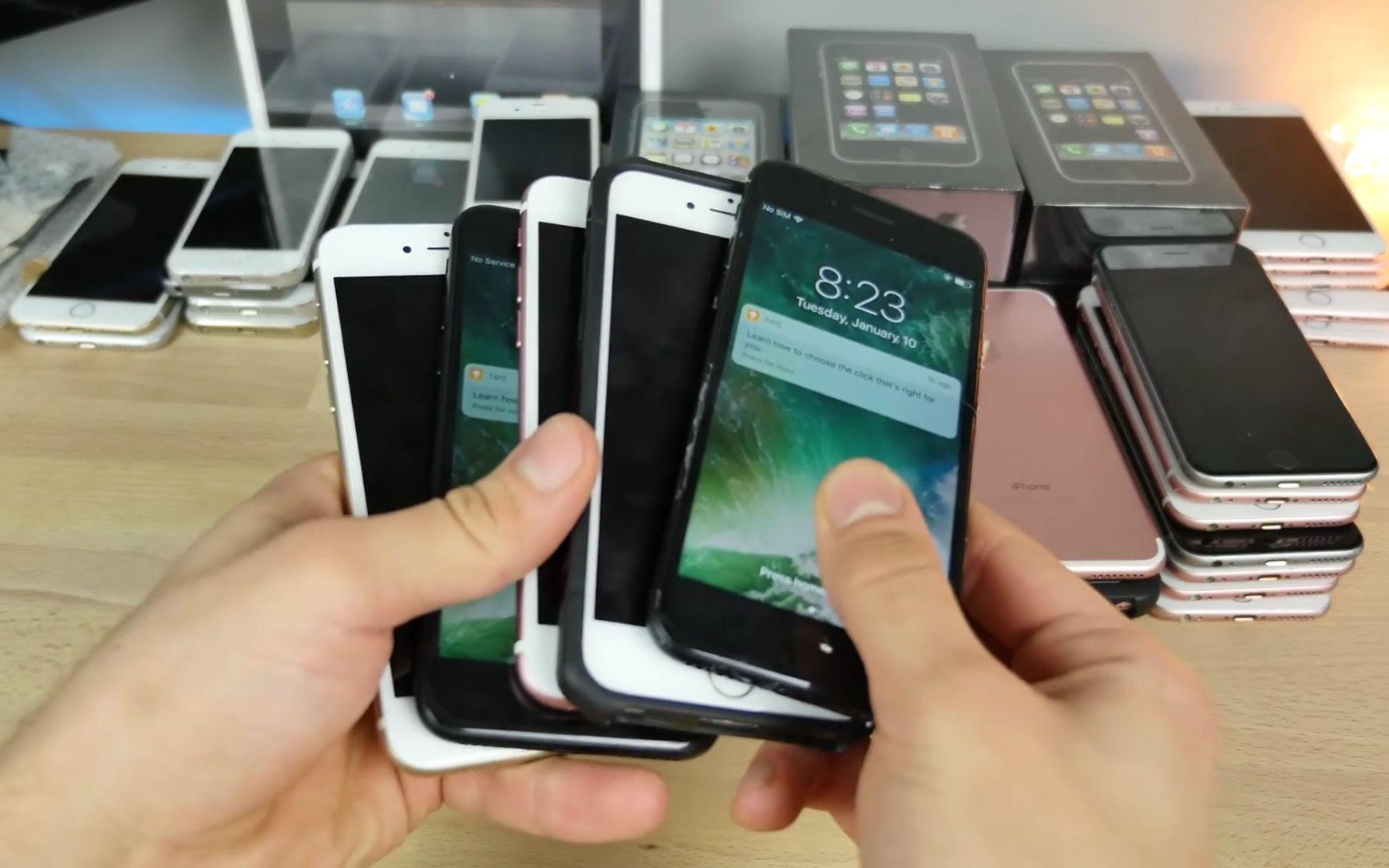 苹果youtube主播展示拆封的收藏土豪手机!未所有的iphone2g到7p!曲手机铃声嗨图片