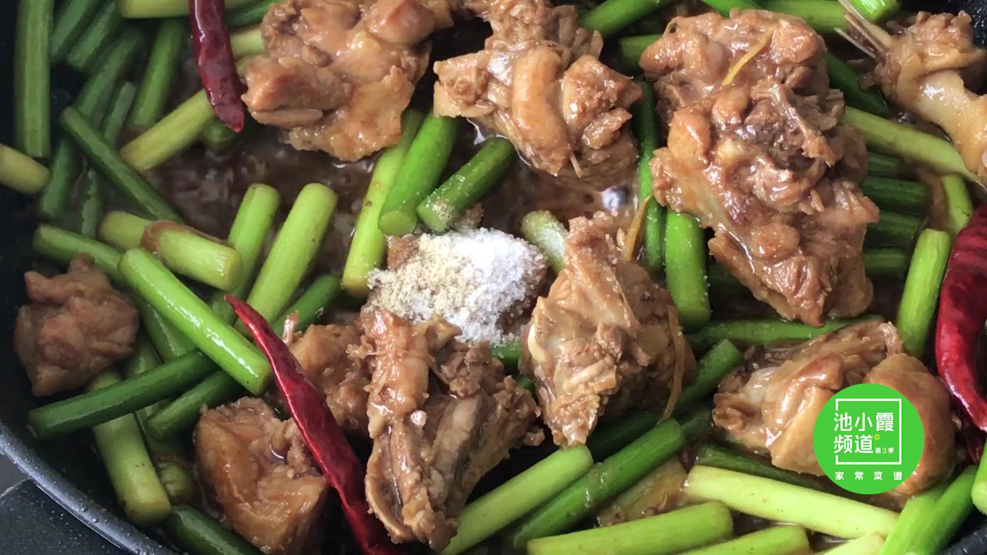 蒜苔和猪肉这样炒,蒜苔比美女炒鸭肉品鉴吃,吃了一次还想吃下次味道肉还好图片