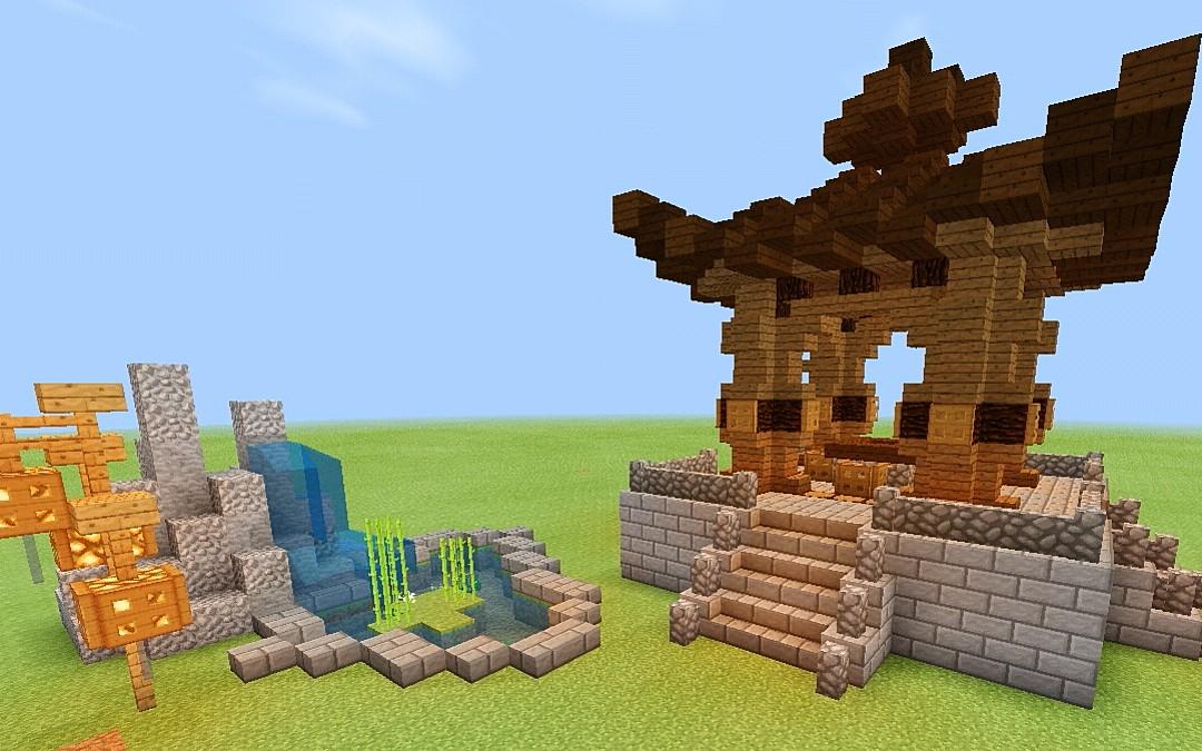 『穆穆』我的世界 一个被魔改的古风小亭子建筑教程图片