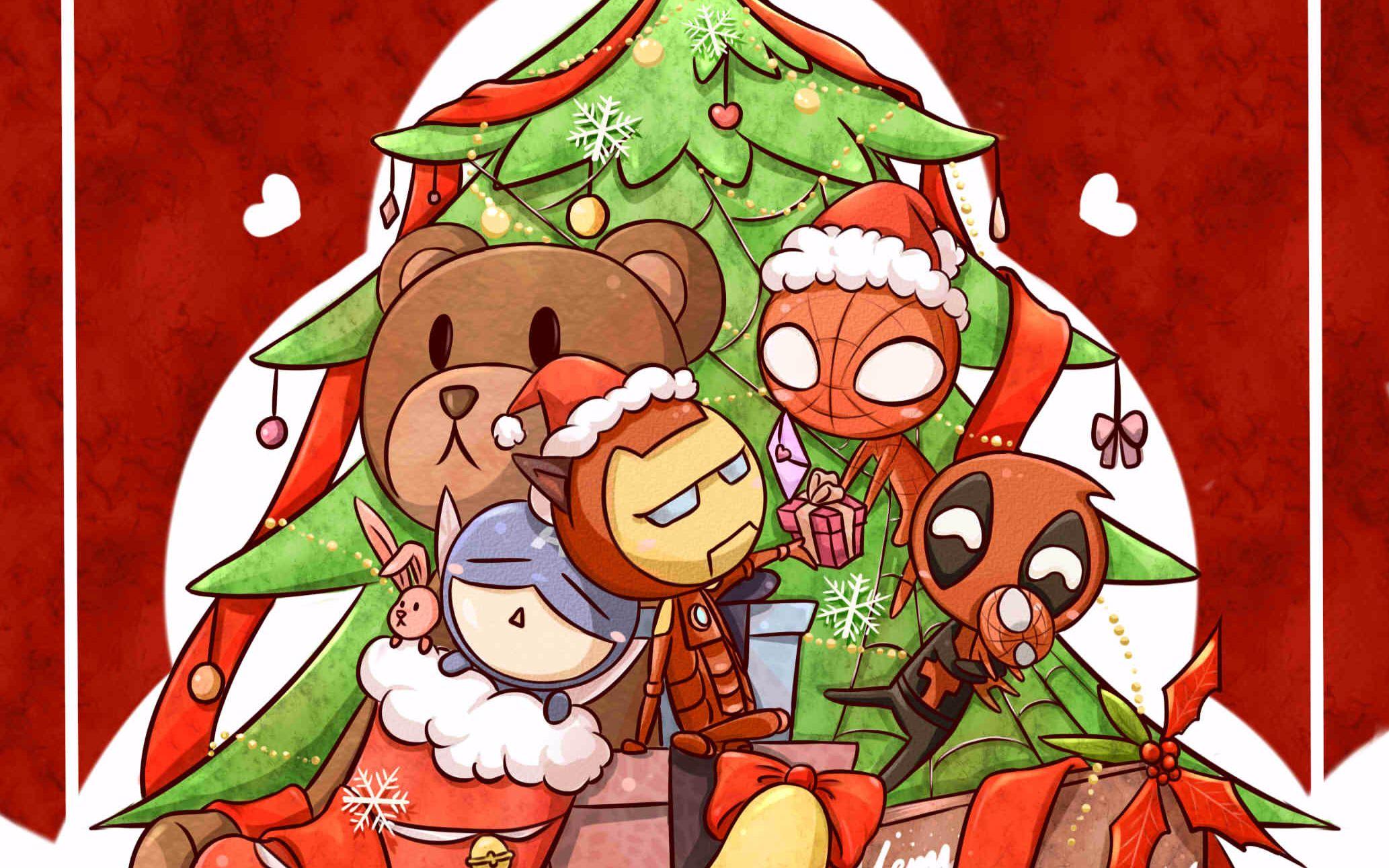 【盾·铁·贱·虫】完整版圣诞贺图流程【sai】
