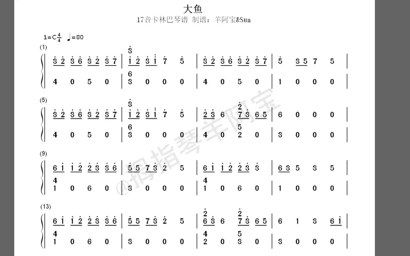 【拇指琴羊阿宝】大鱼(简谱)图片