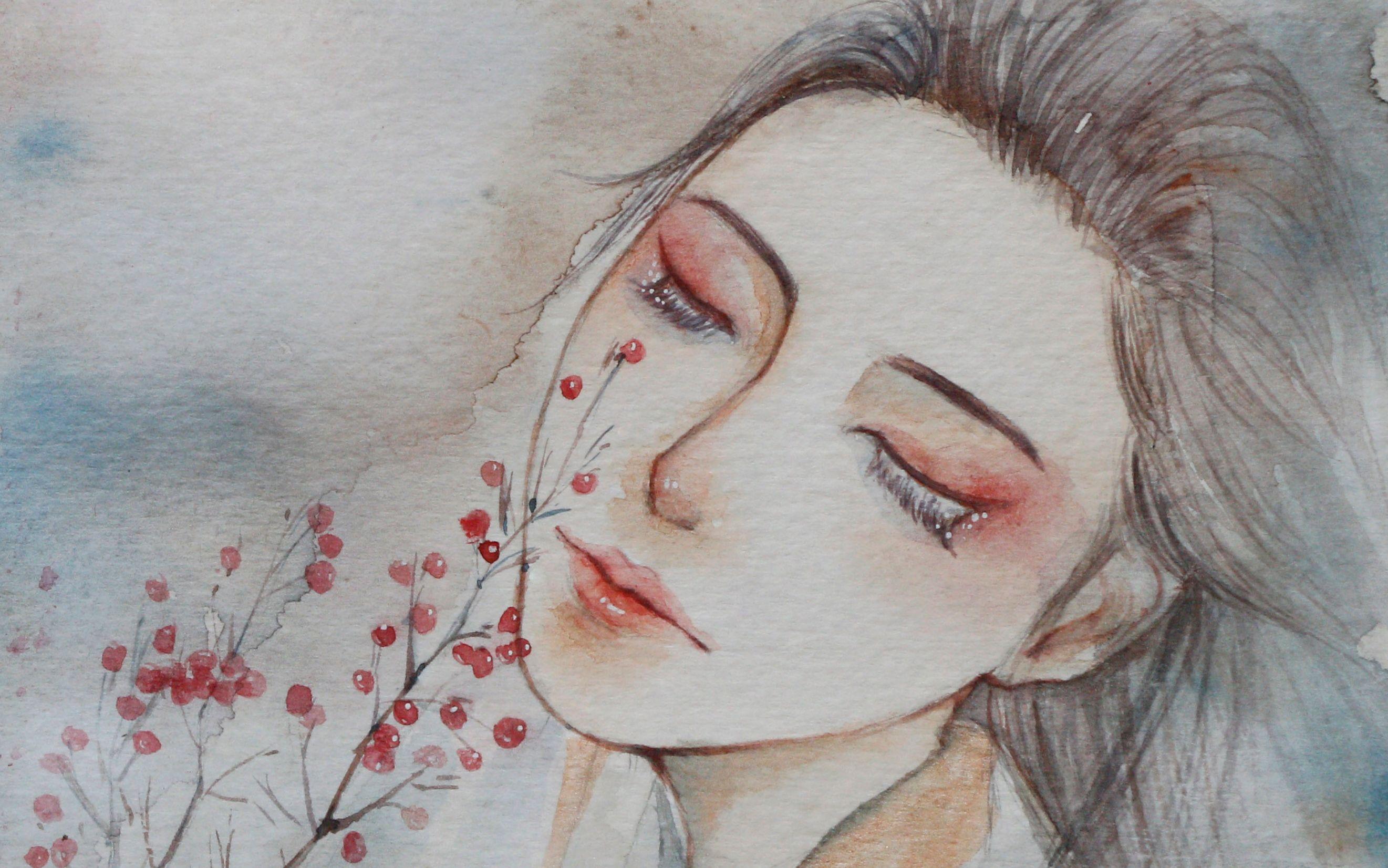 古风水彩【红豆最相思】-----七七奕珑手绘