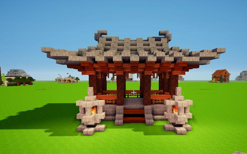 minecraft创意建筑:中式建筑凉亭图片