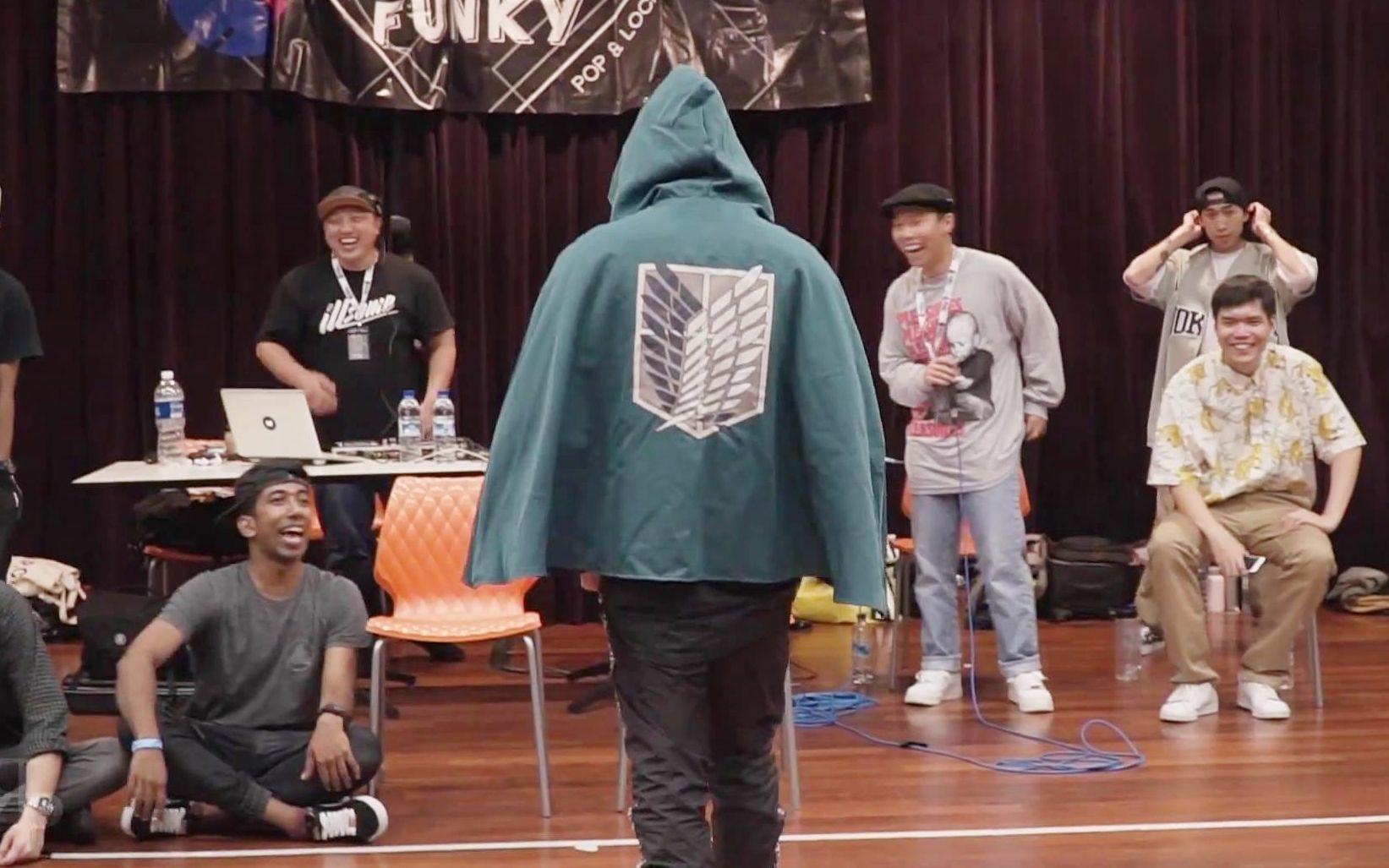 进击的巨人OP配上街舞?!'献出心脏'的锁舞裁判表演!Saywan新加坡NTU Funk Jam比赛Locking裁判秀