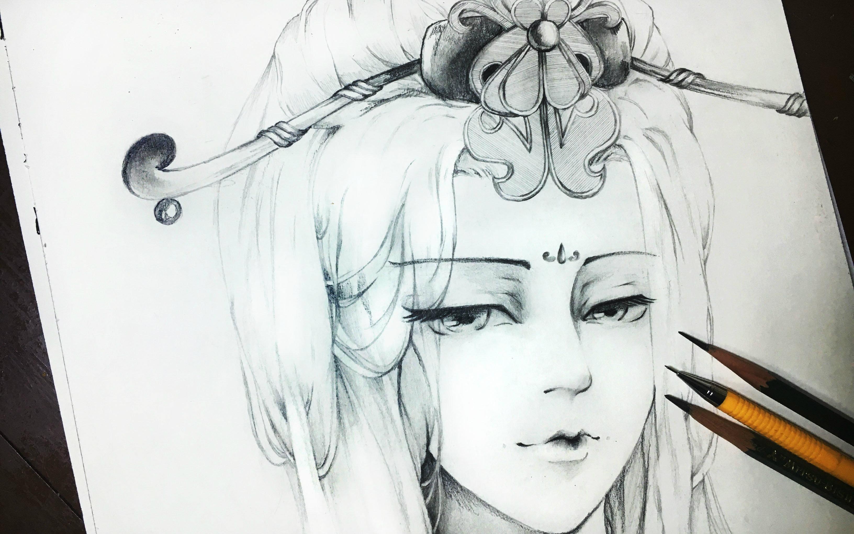 【布丁手绘】我想画个古风美人!可是感觉画成了奸妃!线稿版
