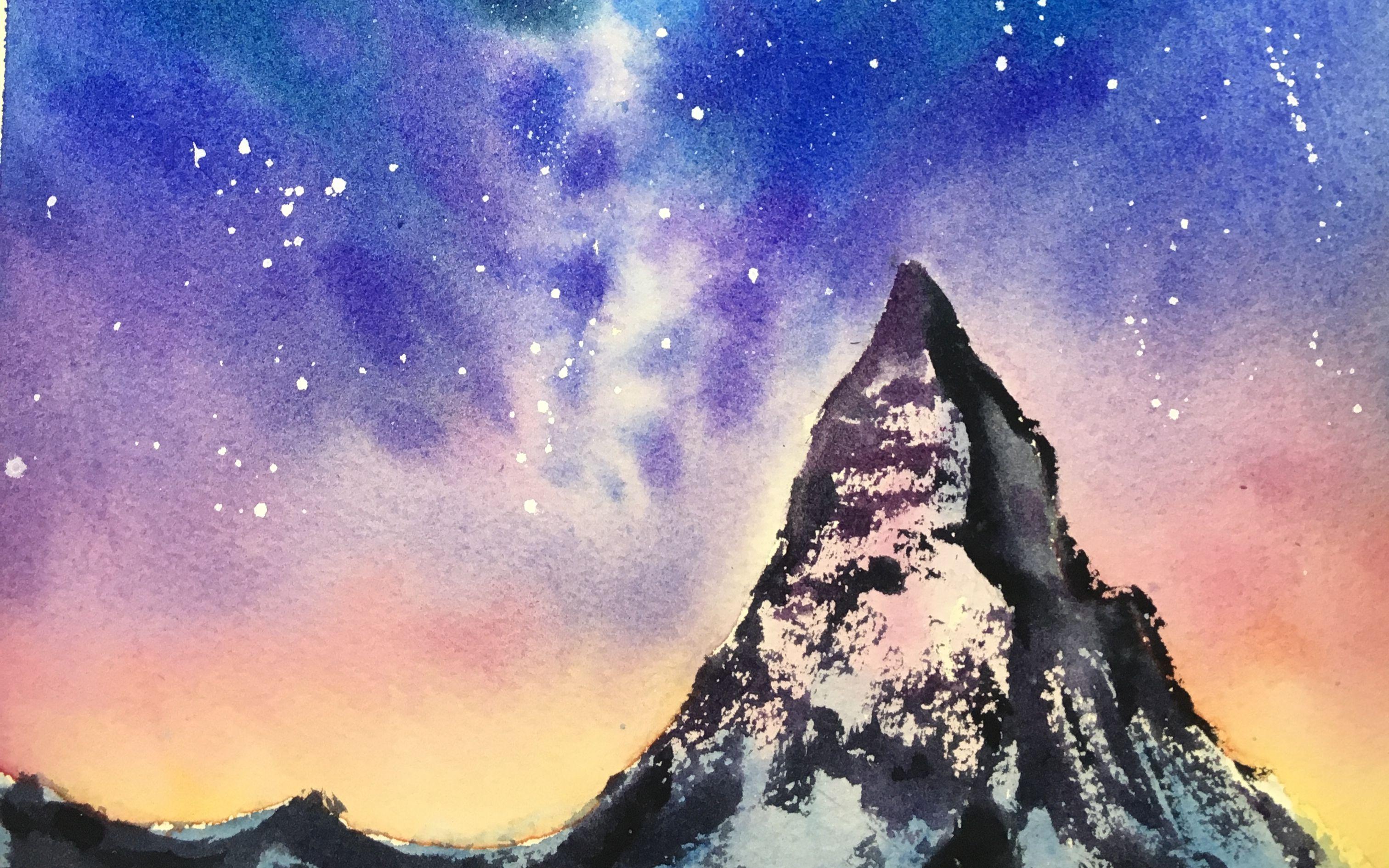 【手绘】星空雪山【水彩】图片