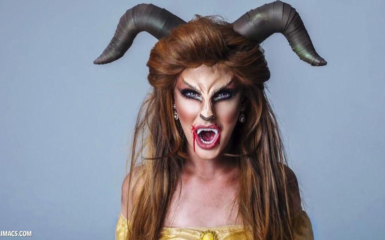 万圣节妆容:美女野兽混合妆