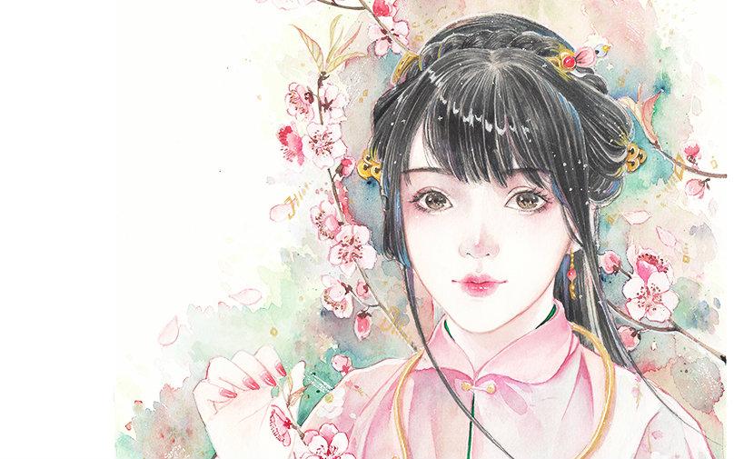【手绘】大花手绘——古风手绘水彩——桃花图片
