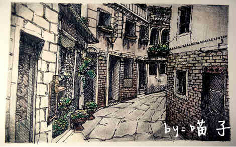 复古街景初稿绘画图片