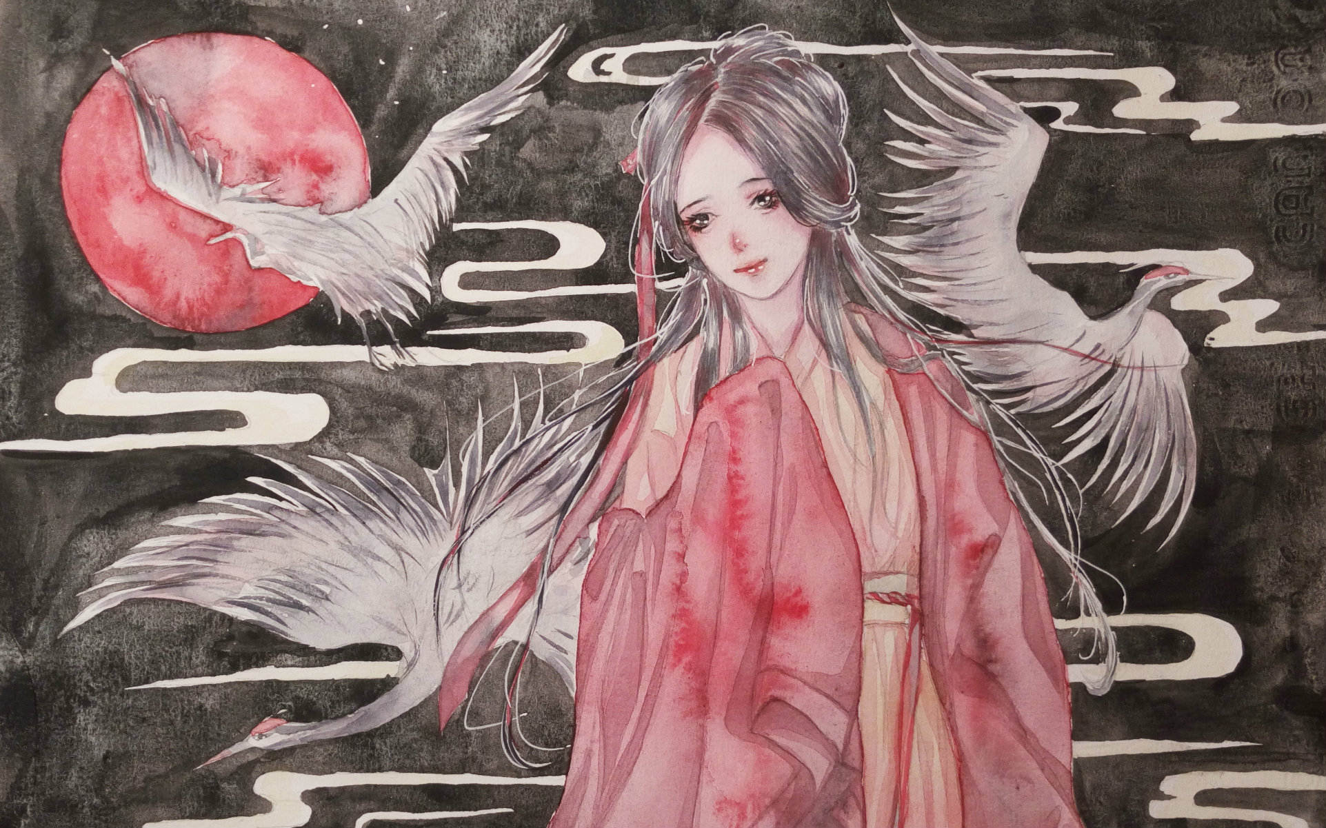 【古风水彩手绘上色】鹤女