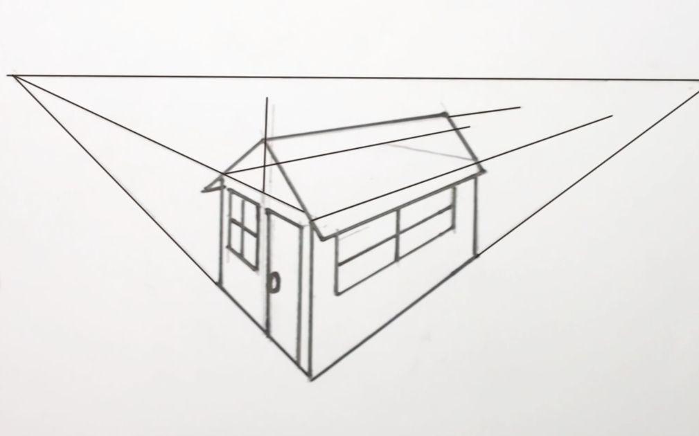用两点透视发绘制房屋,来人取我18厘米的尺子来图片