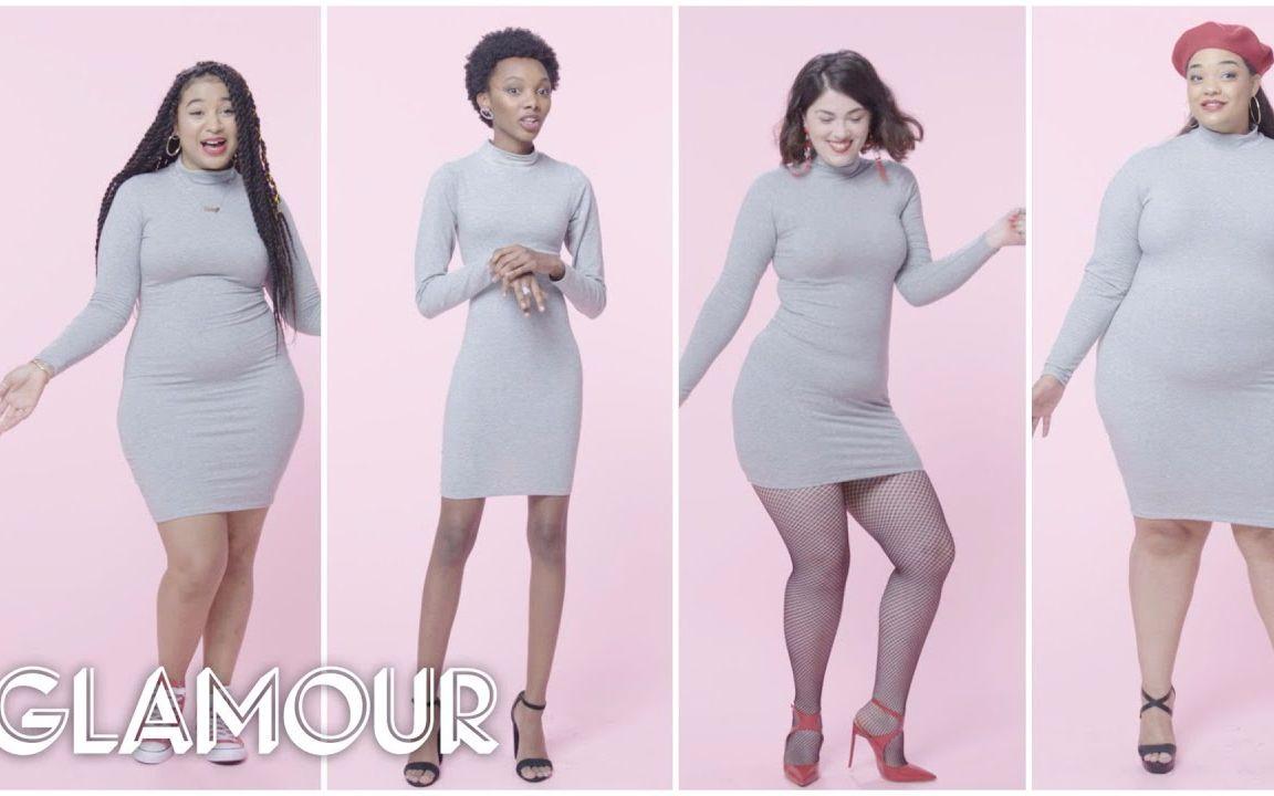 0到28码身材的女性试穿同款紧身裙