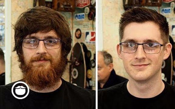 满脸胡子的长发男生把胡子剃了换个短发发型,变身18岁图片