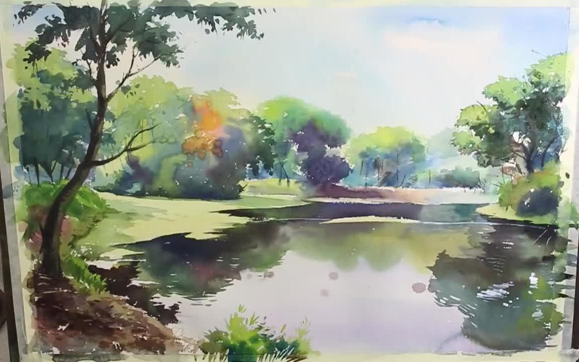 水彩风景画_【水彩风景】湖面倒影_绘画_生活_bilibili_哔哩哔哩