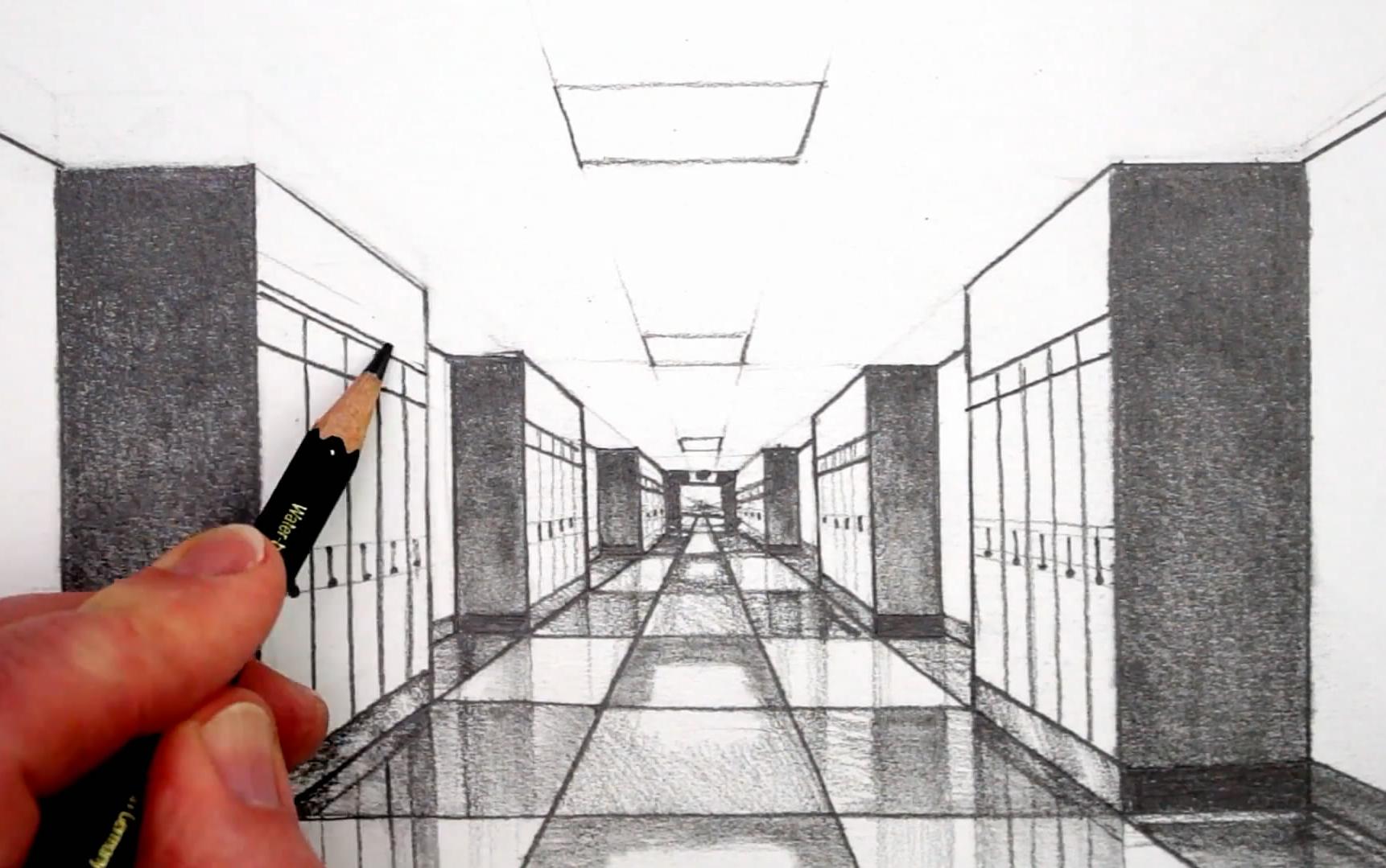【绘画技巧】1点透视画室内(走廊篇)