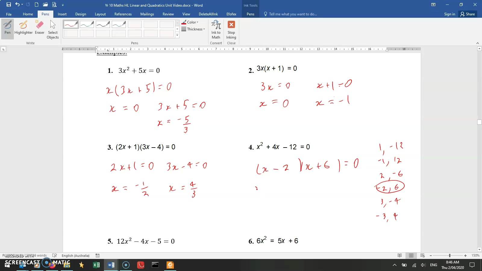 MA Yr10 HL - Mr Lineage - Lesson 8- Quadratics- 4. Factorising&quadratic formula