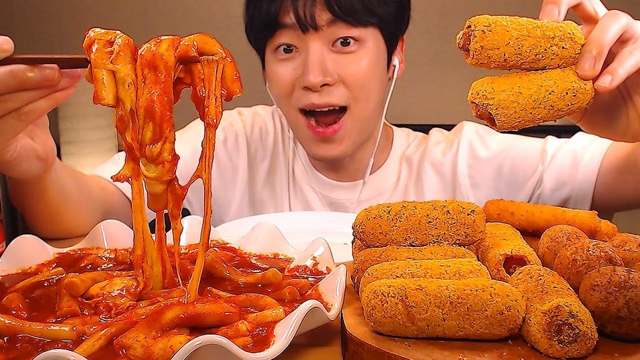 【sio】sub)mukbang★吃辣年糕+bhc新热狗★(tteokbokki)真人秀(2019年9月8日21时16分)