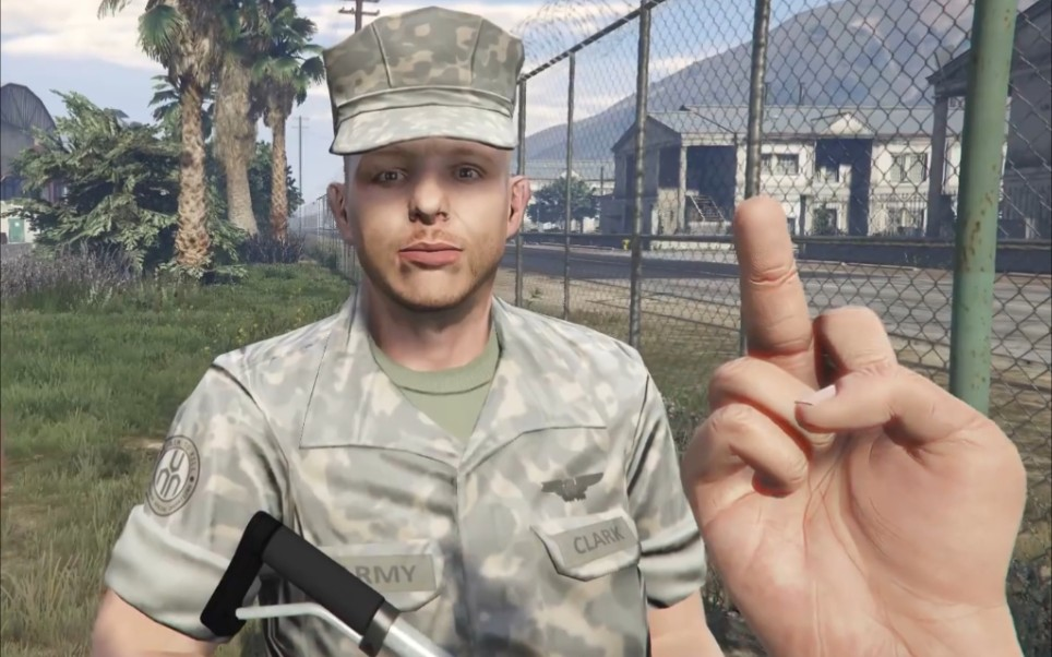 GTA5 当老麦在军事基地向军官竖中指会发生什么?