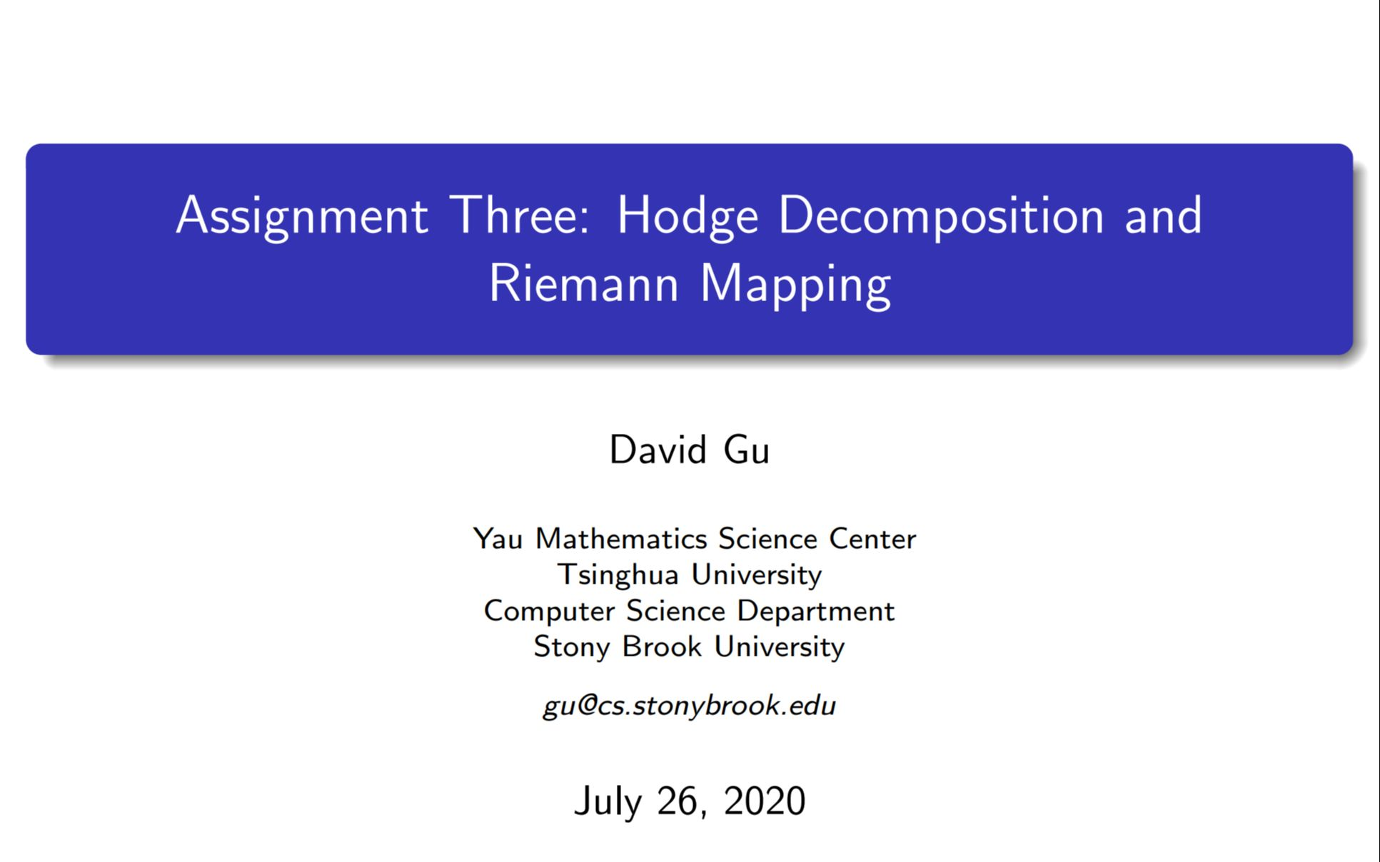 Assignment 3 - Hodge Decomposition and Riemann Mapping