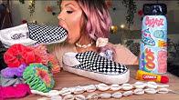 【hunnibee】VSCO女式可食用水壶(仿造)、内衣、面包车、糖果贝壳项链、Carmex Mukbang(2019年8月30日19时58分)