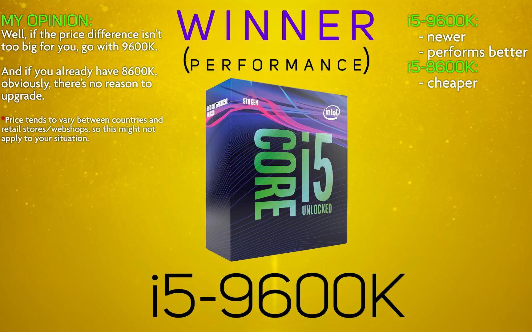 处理器比较 - Intel i5-9600K Vs Intel i5-8600K(来源YouTube)(侵权删)_哔哩哔哩 (゜-゜)つロ  干杯~-bilibili