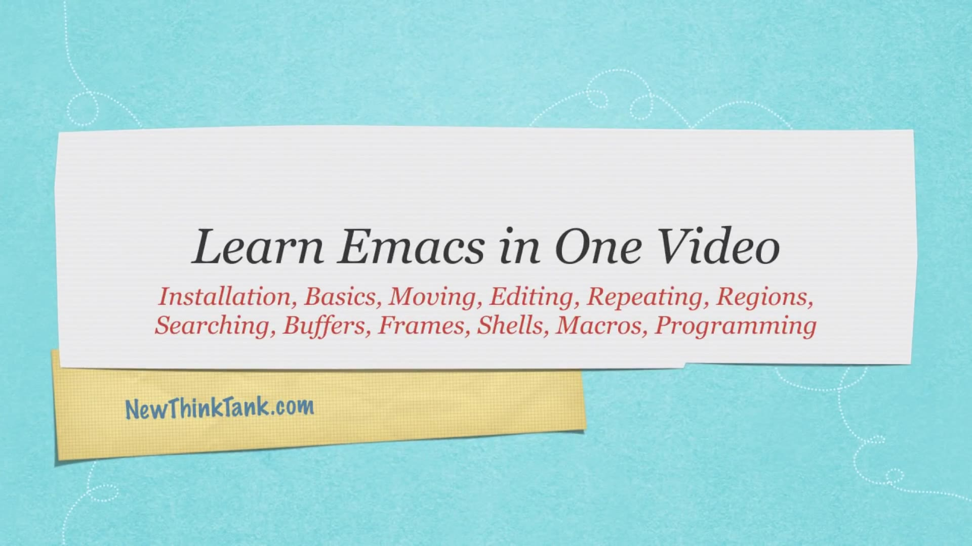 Emacs Tutorial - Learn Emacs in One Video_哔哩哔哩 (゜-゜)つロ 干杯~-bilibili