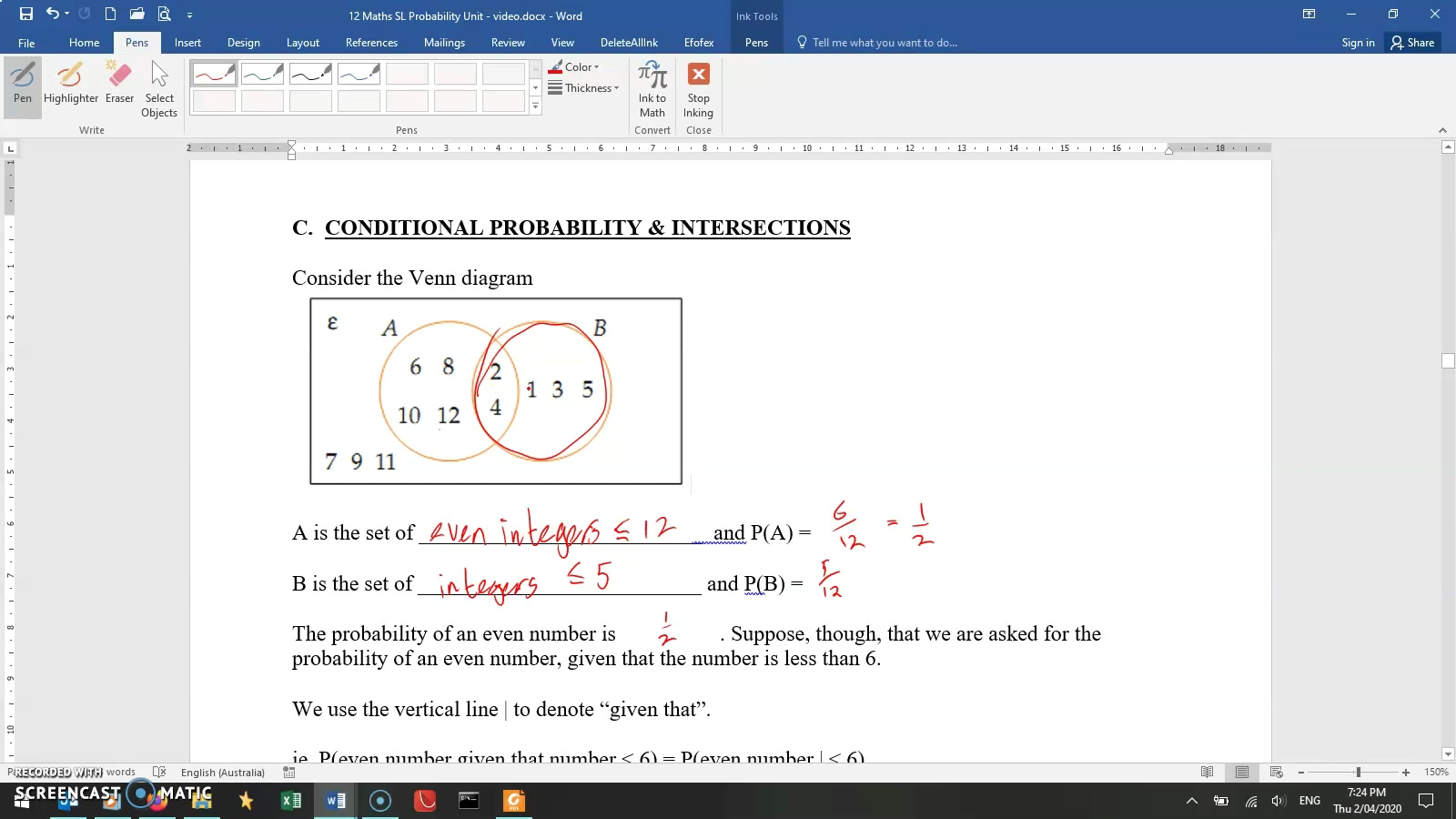 MA Yr12 SL - Mr. LINEAGE Lesson 11 - Probability - 4. Conditional probability
