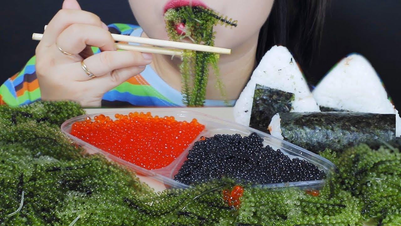 【玲玲小姐姐】助眠吃黑红色的鲑鱼蛋,海葡萄,奥尼吉里,金巴吃声音|林助眠(2019年11月28日19时0分)