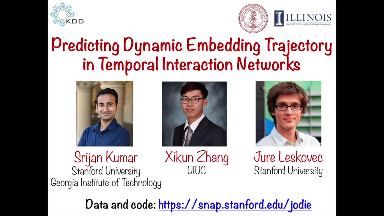 Predicting embedding trajectory in temporal interaction networks