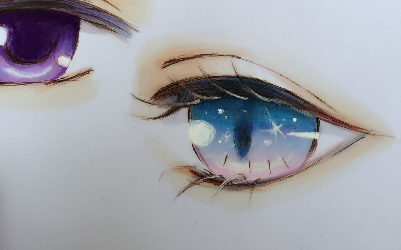 水溶性彩铅视频教程_【马克笔手绘】装着星星的眼睛_绘画_生活_bilibili_哔哩哔哩